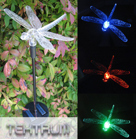 ... Solar Garden Color Changing Dragonfly Light